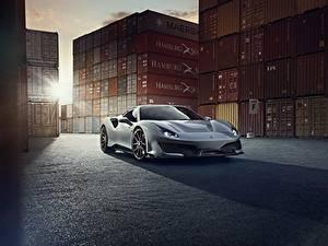 Bureaubladachtergronden Ferrari Grijs Metallic Coupé 488 Pista auto's