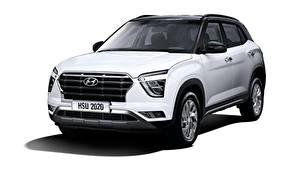Fotos Hyundai Crossover Weiß Metallisch Weißer hintergrund Creta, MX-spec, (SU2), 2020 automobil