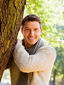Fotos Mann Lächeln Blick Baumstamm Sweatshirt