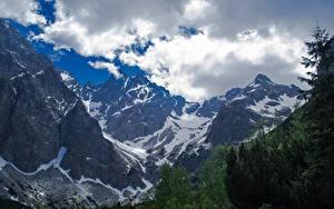 Fotos Gebirge Slowakei Landschaftsfotografie Felsen Schnee Wolke Tatra mountains