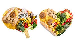 Fotos Gemüse Obst Brot Fische - Lebensmittel Käse Kartoffel Tomate Bananen Weißer hintergrund Herz Makkaroni