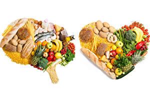 Fotos Gemüse Obst Brot Fische - Lebensmittel Käse Kartoffel Tomate Bananen Weißer hintergrund Herz Makkaroni Lebensmittel