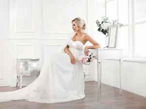 Picture Bouquets Blonde girl Bride Sitting Frock