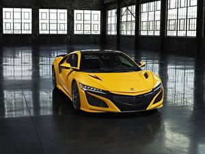 Picture Honda Yellow Acura NSX automobile
