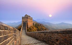 Hintergrundbilder Chinesische Mauer Gebirge Morgen Sonne Nebel Natur