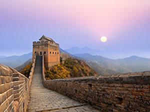 Hintergrundbilder Chinesische Mauer Gebirge Morgen Sonne Nebel