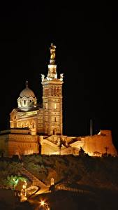 Photo Cathedral France Night time Hill Notre-Dame de La garde, Marseille Cities