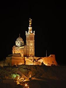 Fotos Kathedrale Frankreich Nacht Hügel Notre-Dame de La garde, Marseille