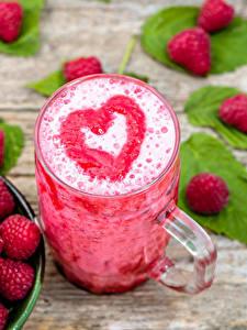 Hintergrundbilder Cocktail Himbeeren Becher Herz