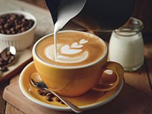 Fotos Kaffee Cappuccino Die Sahne Tasse Untertasse Lebensmittel