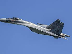 Desktop hintergrundbilder Jagdflugzeug Flugzeuge Flug Suchoi Su-35 Russischer Su-35S Luftfahrt