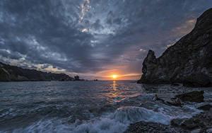 Bilder Landschaftsfotografie Sonnenaufgänge und Sonnenuntergänge Wasserwelle Steine Bucht Felsen