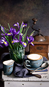 Images Still-life Irises Coffee Cup Spoon Flowers