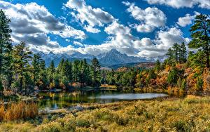Hintergrundbilder Vereinigte Staaten See Wälder Himmel Landschaftsfotografie Wolke Ouray Colorado