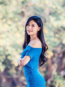 Bilder Asiaten Kleid Blick Unscharfer Hintergrund Brünette Mädchens