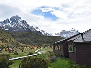 Fotos Chile Gebirge Haus Park Tourismus Gras Torres Del Paine National Park, Patagonia Natur