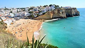 Hintergrundbilder Küste Haus Portugal Strand Praia do Carvoeiro Städte