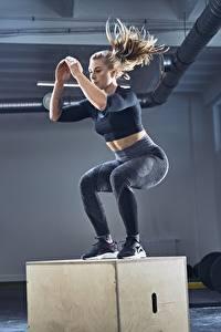 Hintergrundbilder Fitness Turnhalle Körperliche Aktivität Sprung Sport Mädchens