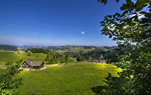Hintergrundbilder Schweiz Felder Haus Hügel Ast St. Gallen