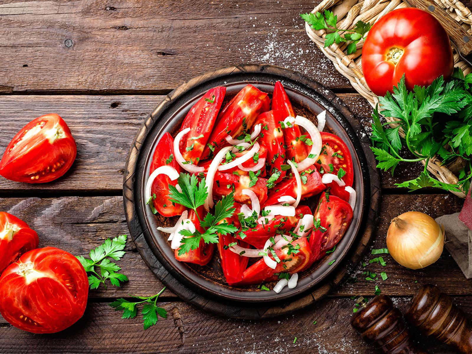 1600x1200、サラダ、野菜、トマト、木の板、食べ物、食品、