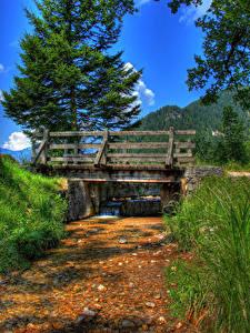 Fotos Deutschland Flusse Brücken HDR Gras Bischofswiesen Natur