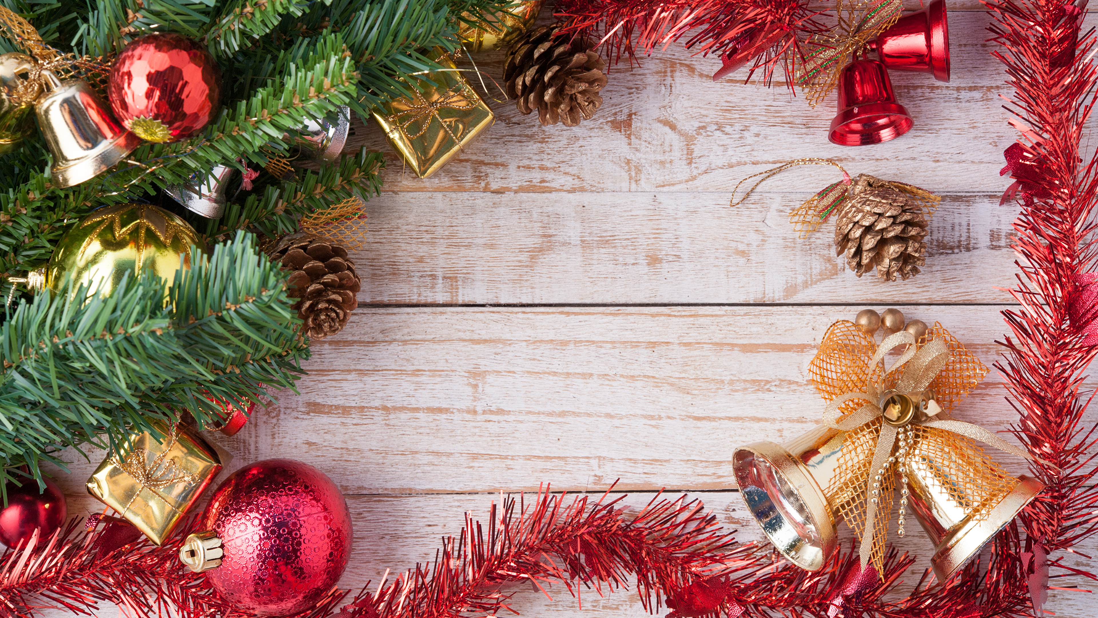 Wallpaper Christmas Bells Balls Branches Pine Cone Wood