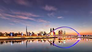 Hintergrundbilder Abend Himmel Dubai VAE Brücke Kanal Städte