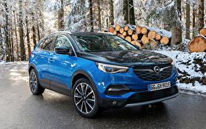 Desktop hintergrundbilder Opel Hellblau Metallisch Hybrid Autos 2019-20 Grandland X Hybrid4 auto