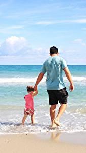 Hintergrundbilder Meer Mann Zwei Kleine Mädchen