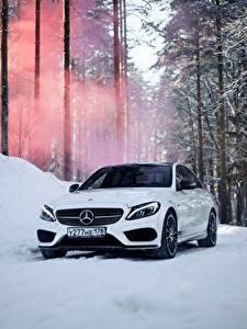 Bilder Mercedes-Benz Weiß Schnee c450 c63 amg automobil