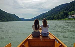Wallpapers Rivers Boats 2 Brown haired Sitting Back view Danube Girls