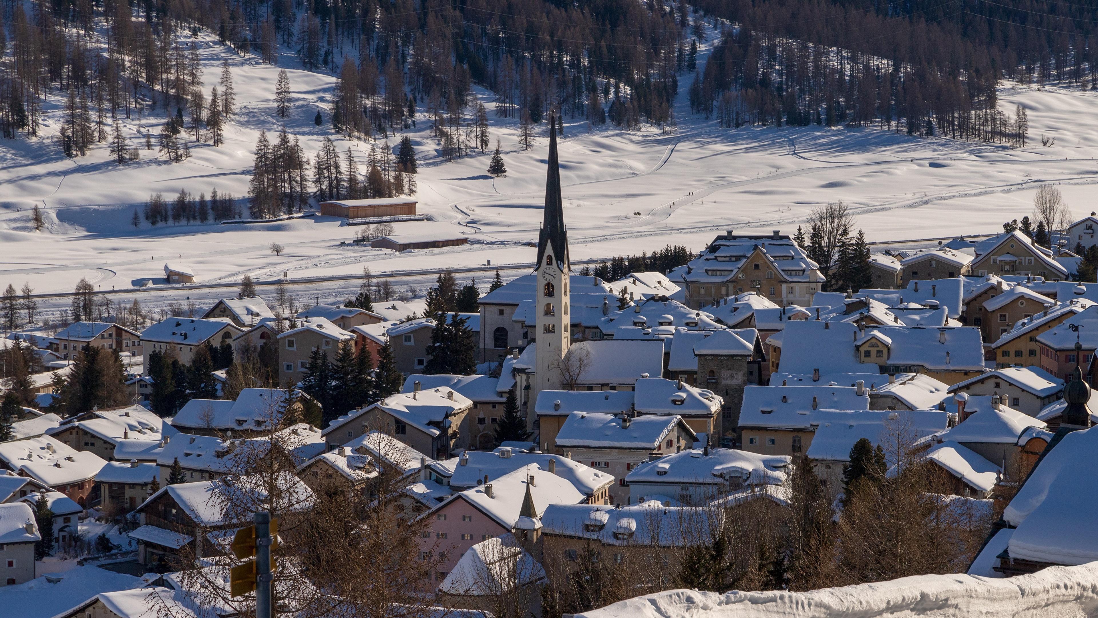 Foto La chiesa Svizzera Il villaggio Inverno Neve Città La casa 3840x2160 insediamento umano edificio