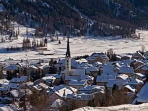 Fotos Winter Haus Kirchengebäude Schweiz Schnee Dorf  Städte