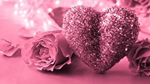 Wallpaper Valentine's Day Roses Pink color Heart