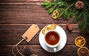 Fotos Tee Neujahr Bretter Ast Tasse Zapfen