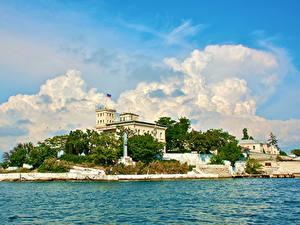 Bilder Russland Krim Gebäude Bootssteg Denkmal Yalta Städte
