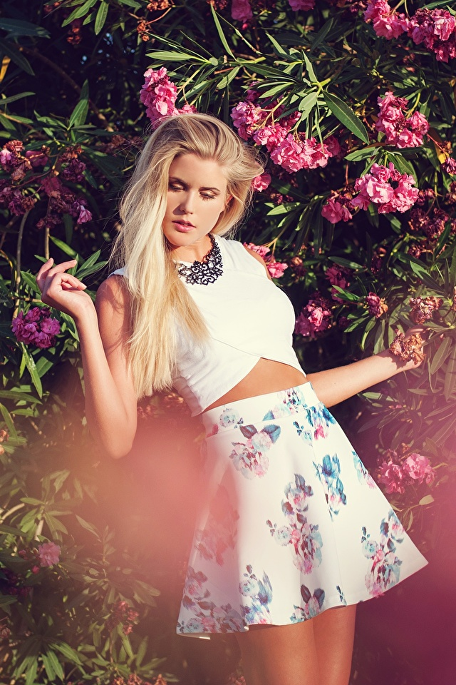 Fotos von Rock Blondine Pose Mädchens Hand Strauch 640x960 für Handy Blond Mädchen posiert junge frau junge Frauen