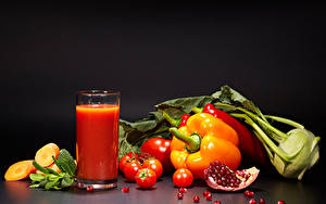 Image Juice Vegetables Pomegranate Pepper Tomatoes Gray background Highball glass