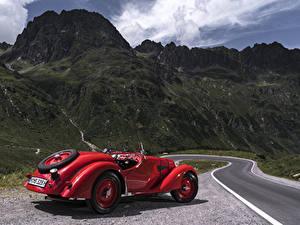 Bilder Retro BMW Rot Metallisch Roadster 1936-40 328 Roadster