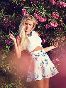 Image Bush Blonde girl Pose Skirt Hands Girls