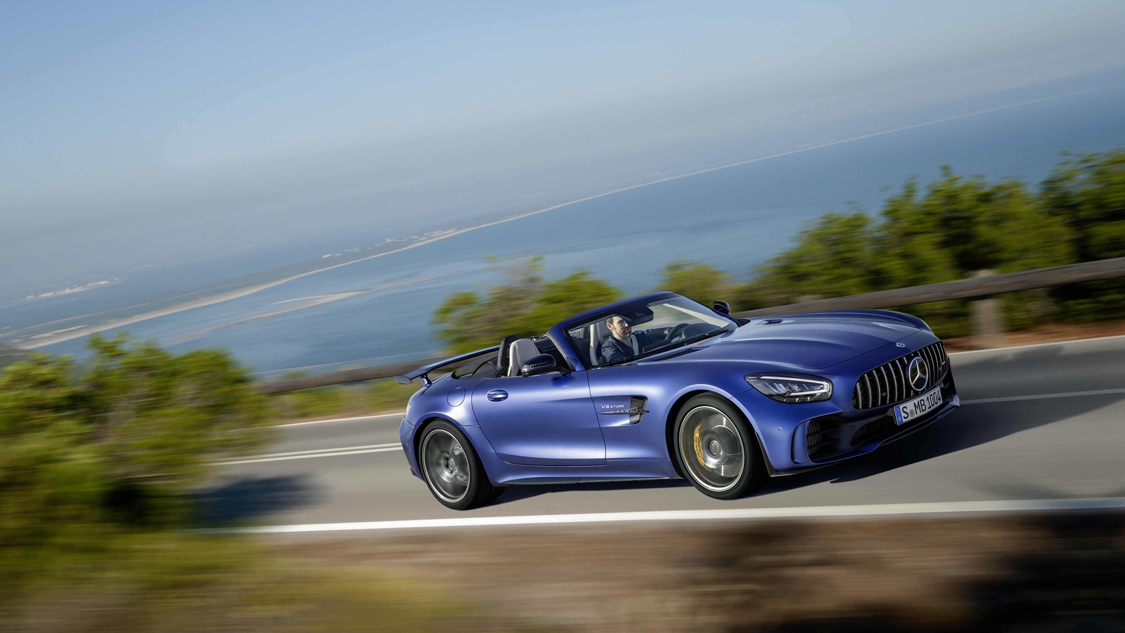 Pictures Mercedes Benz Gt R Amg Convertible Blue Moving 3840x2160