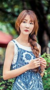 Fotos Asiaten Hand Zopf Blick Bokeh Braunhaarige junge frau