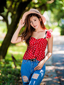 Image Asian Pose Jeans Blouse Hat Glance female
