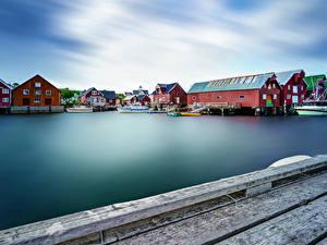 Bilder Norwegen Lofoten Haus Schiffsanleger Bucht