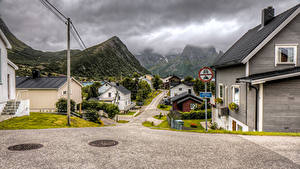 Photo Norway Houses Mountains Street Husoy Cities