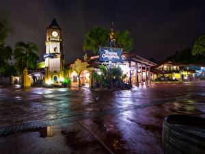 Pictures USA Disneyland Parks Building California Anaheim Night Design HDRI Rays of light Cities
