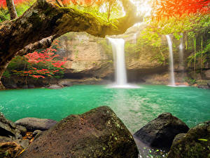Bilder Thailand Tropen Wasserfall Steine Park Ast Heo Suwat Waterfall Khao Yai National Park Natur