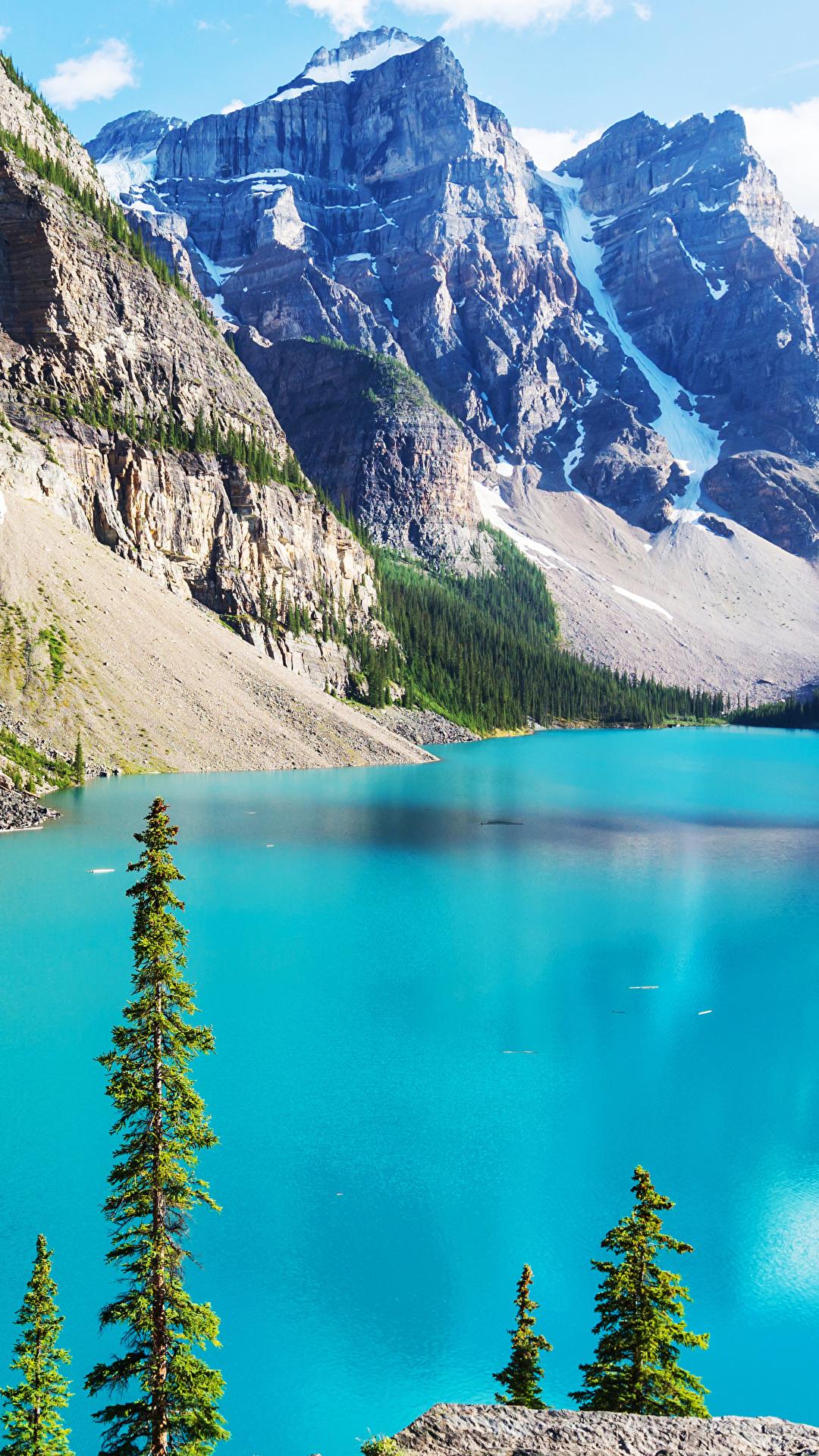 Fonds d'ecran 1080x1920 Photographie de paysage Lac Montagnes Canada Parc Moraine Banff Nature ...