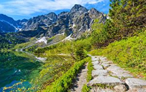 Bilder Polen Gebirge See Landschaftsfotografie Weg Lake Morskie Oko Tatra Mountains Natur