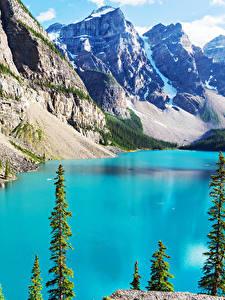 Bilder Landschaftsfotografie See Gebirge Kanada Park Banff Moraine